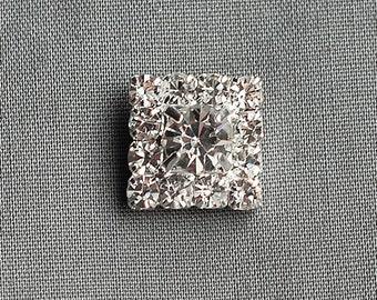 10 Rhinestone Button Square Crystal Hair Flower Comb Wedding Invitation Scrapbooking Ring Pillow Napkin Ring BT054