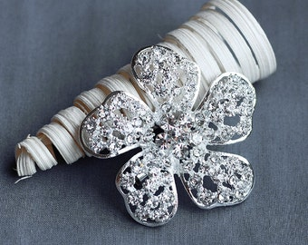 SALE Rhinestone Brooch Component Crystal Hair Comb Shoe Clip Pin Wedding Cake Decoration BR146