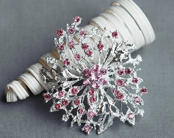 Rhinestone Brooch Component Crystal Light Rose Pink Hair Pin Comb Shoe Clip Wedding Cake Bouquet Decoration BR178