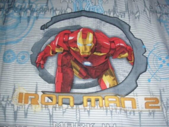 Iron Man 2 FLAT Twin Sheet Reclaimed Bed Linens Fabric