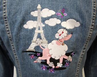 Paris Party Upcycled Denim Jacket