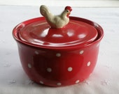 16 Ounce Pottery Crock - Red With White Polka Dots - Chicken Knob - USA Made