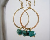 Gold hoop earrings with turquoise - by Tidepools Jewelry