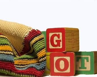 Child's Beret 1920's Vintage Cap Primary Colors Cotton Stripes Handmade