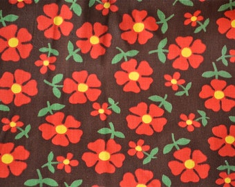 Vintage Fabric  - Red Daisies on Chocolate - 36 x 33 Canvas