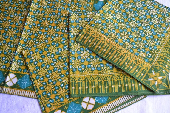 Vintage Batik Cloth Napkins - A Set of 4 in Blue and Green