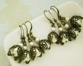 Bridesmaid Earrings set of four pairs in cottage and vintage style, antiqued brass leaf capped swarovski ivory pearl nickel free earrings,
