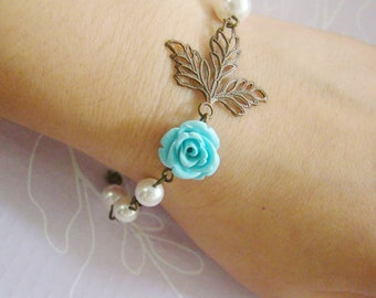 Maple leaf blue turquoise rose ivory swarovski pearls antiqued brass bracelet, bridemaid gift, for daughter,for her
