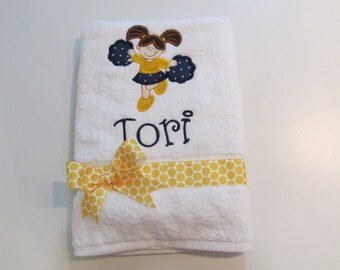 Girls, Bath, Beach or Pool Towel, White Terry Cloth, Cheerleader Applique, Navy and Yellow, Free Personalization