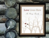 Love Lives Here - Personalized For Your Family - Red and Brown Birds in Winter Trees - Home Decor
