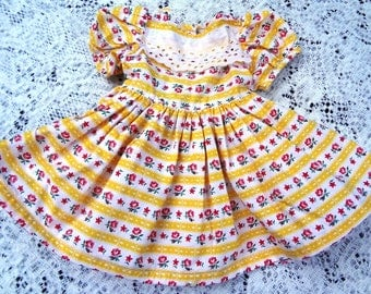 "Original 1950's Doll Dress / 18"" Doll / Handmade Yellow Print"