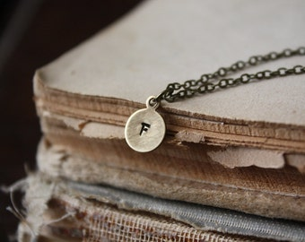 Brass Initial Necklace - Minimal, Everyday, Personalized