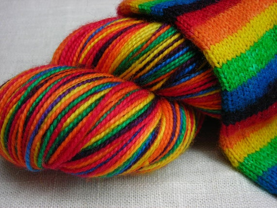 Classic Rainbow Self Striping Superwash Merino and Nylon Blend Sock Yarn -- Red, Orange, Yellow, Blue, Green, Purple