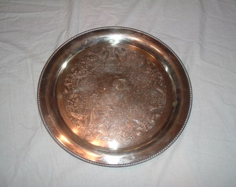 vintage silver plated serving tray 15 inch