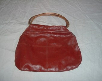 vintage  red leather purse with wooden handles