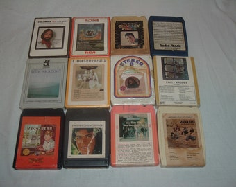 12 VINTAGE 8 TRAC TAPES