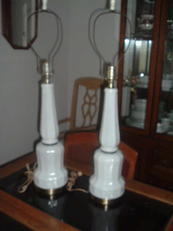 2 Vintage White Milk Glass Lamps With Brass Trim