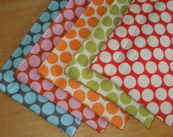 Five reusable snack bags - Reuse snack bags - Fabric snack bag - Polka dots snack bags - You choose the fabric
