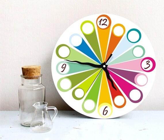 "Wall clock, Rainbow Colorful Colorburst wall clock, 11"" wall clock"