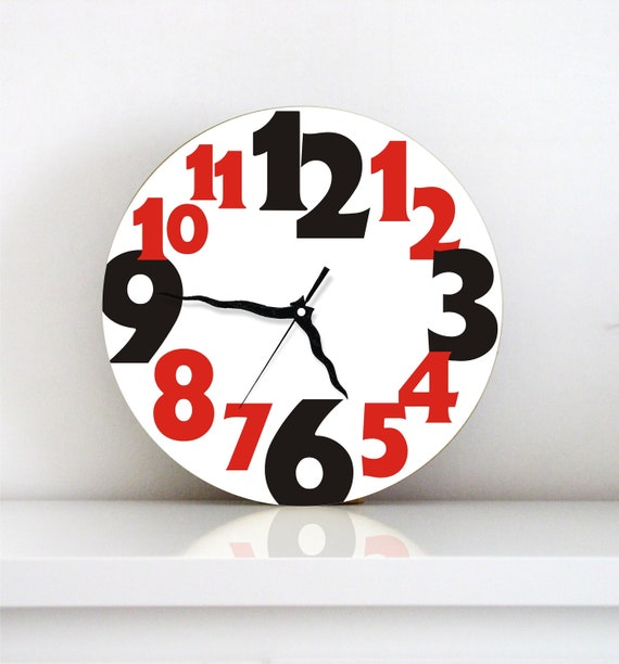 Wall clock Black red typography large numbers modern minimalist home decor large round wall clock