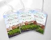 Custom Save The Date Wedding Luggage Tags - Rustic Italy Destination Wedding