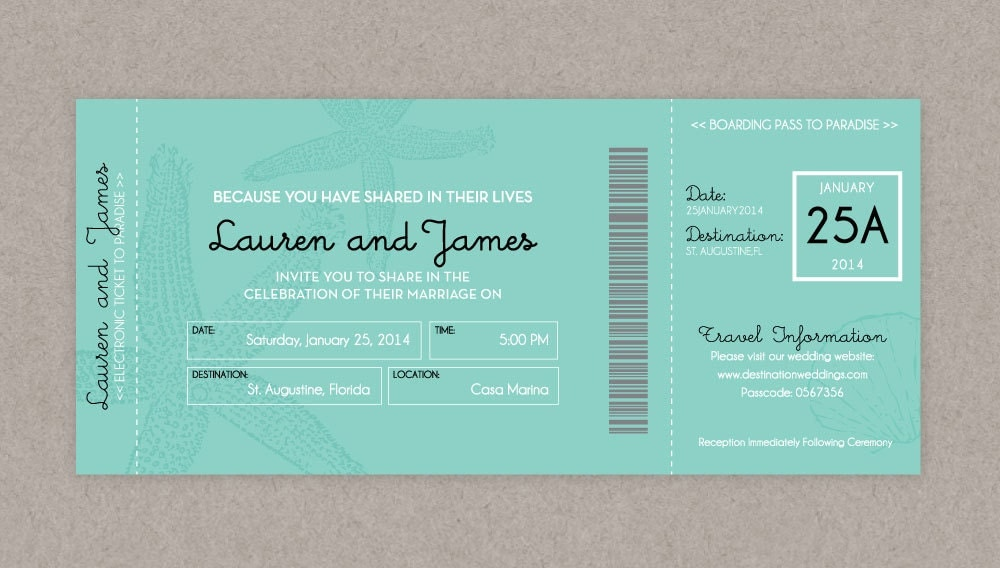 Announce Your Destination Wedding with Boarding Pass Invitations and ...