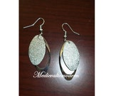 Small Match Silver Oval Drop Earrings New 1.75 inch