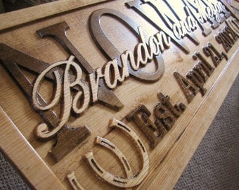 Family Name Sign Personalized CARVED Custom Wood Couples Wedding Gift Established Stall Barn Ranch Plaque Rustic Decor Horse Barn Horseshoes
