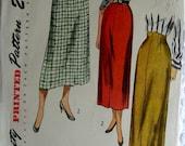 1940s Vintage Pattern 2793  - size waist 28 hip 37 -  Misses Slender Skirt with Raised Waistline and Slit in Front -  UNCUT