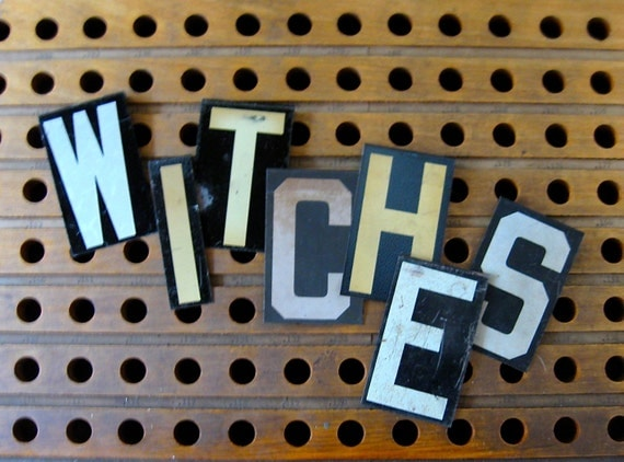 witches, vintage witches letters, vintage metal letters, sign letters, primitive letters, halloween sign letters, halloween witches letters,