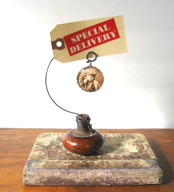 vintage door knob photo holder with little boy and dog photo charm, doorknob photoholder, skeleton key, card holder, picture holder