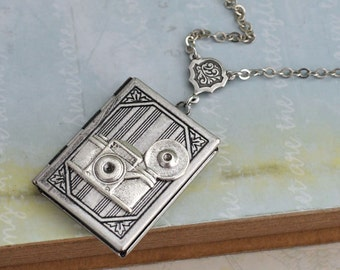 silver locket necklace, The OLD PHOTO ALBUM vintage style book locket necklace in antique silver