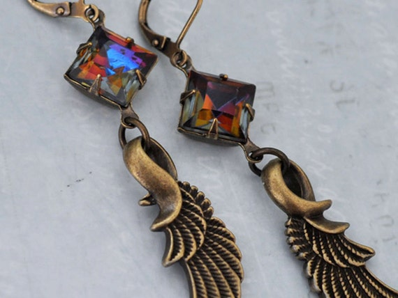 SEPHIROTH winged earrings with vintage rare smoke topaz color jewels