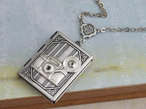silver locket necklace, The OLD PHOTO ALBUM vintage style book locket necklace in antique silver