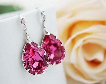 Bridal Earrings Bridesmaid Earrings cubic zirconia ear wires and Rose Pink Swarovski Crystal Tear drops