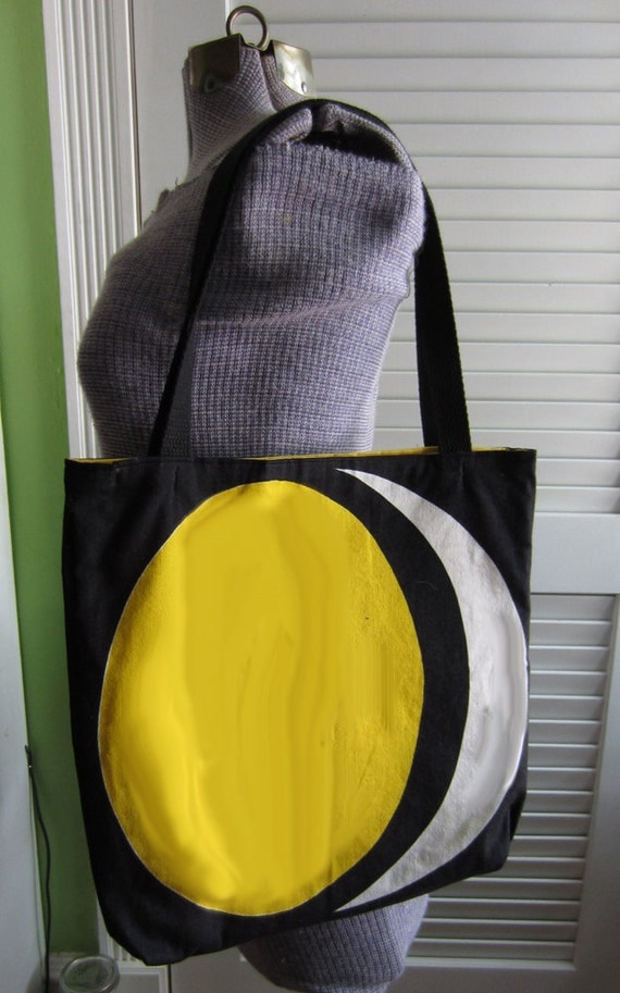 Upcycled Tote Bag made from Vintage Napkins with a Moon Design
