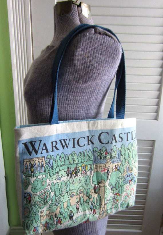 Upcycled Tote Bag made from a Warwick Castle Souvenir Towel