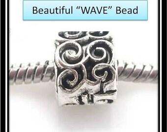 WAVE Design Bead - Fits European Style Bracelets