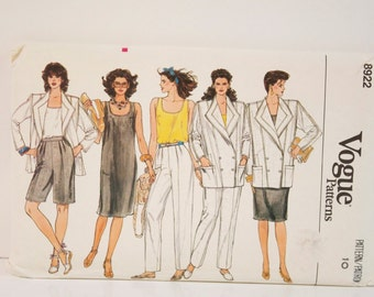 Vintage 1980s Vogue Misses Jacket Dress Top Pants and Shorts and Pattern 2615 Size Petite 10 Uncut