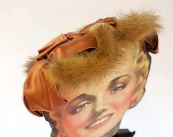 Vintage 1950s Fur Hat with Amber Color Satin Accents