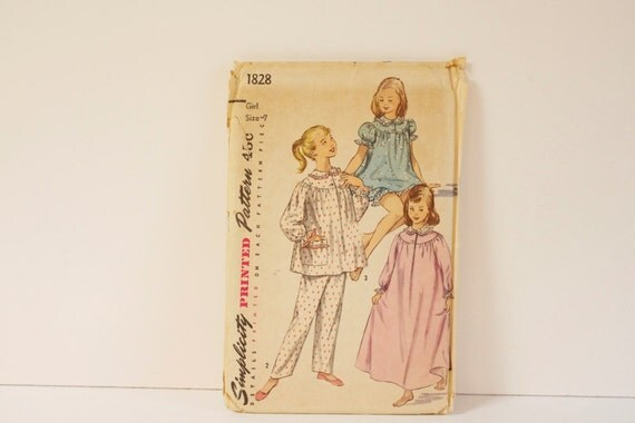 Vintage 1950s Simplicity Girls Pajama in two lenghts and Nightgown  Pattern 1828 size 7