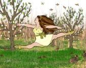 Sunny Leaps Into Spring-8x10 inch art print-dance-split leap-yellow-green-Spring-floral-botanical-nursery decor-childrens illustration-art