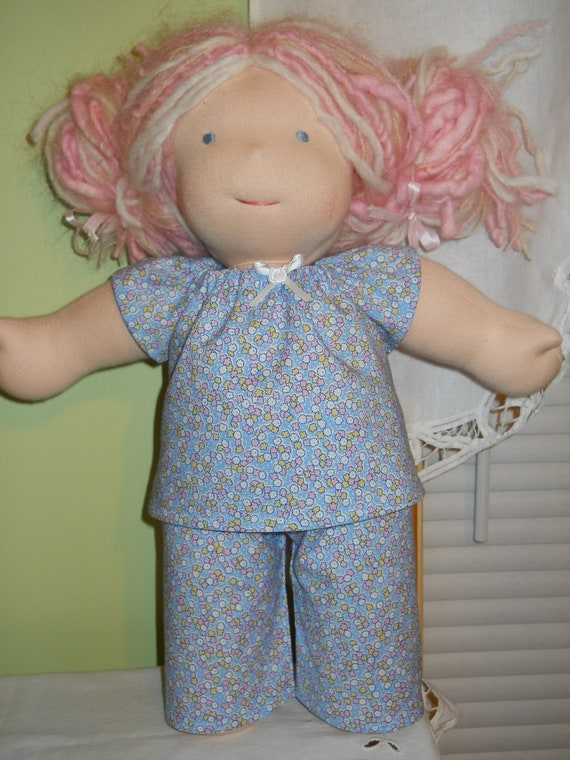 Sweet Blue Flowers Pajamas - Waldorf Doll Clothes - 15 Inch  Bambo Size - G