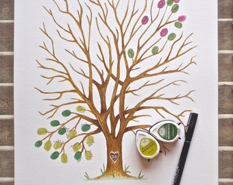 Small Hand Painted Alternative Fingerprint Guest book Tree, wedding, with 2 colours and pen