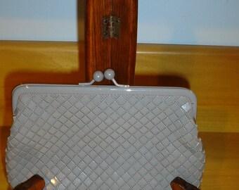 Roger Gimbel Gray Mesh Make Up Bag Mini Clutch SALE