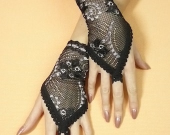 Short Finger loop Lace Gloves, Gothic Armwarmers with Lace Trim, Hand Covers, Pin Up, Retro, Fingerless, Neo Victorian Wedding