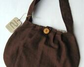 Brown Purse Tote Bag - Brown Linen - OOAK