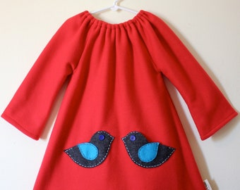 Girls dress, Red fleece ducky dress with little felt pockets