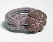 Dusty pink wool yarn knitted bracelet , two loops bracelet, fabric flower, kids jewelry