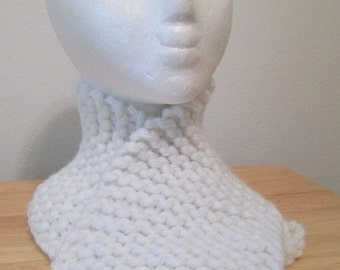 White Knitted Short Scarf